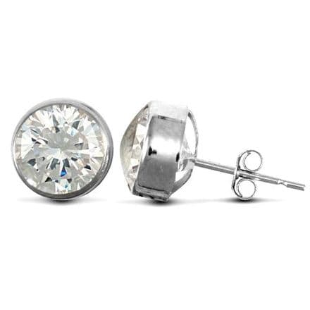 9ct White Gold 7mm Rubover Set Cubic Zirconia Stud Earrings