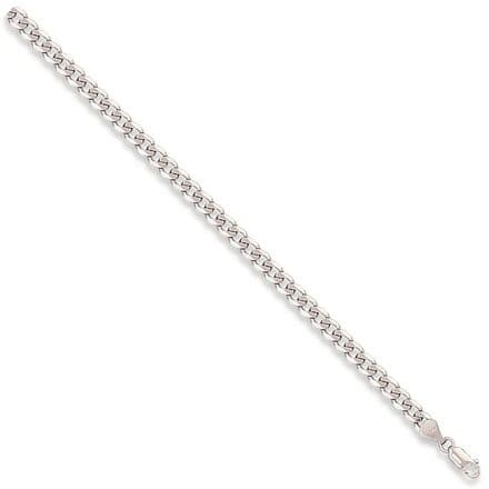 9ct White Gold 8 Inch 5mm Curb Bracelet