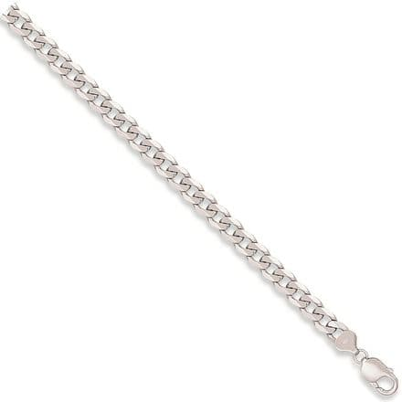 9ct White Gold 8 Inch 6mm Solid Curb Bracelet