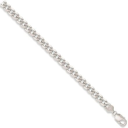 9ct White Gold 8 Inch 8mm  Solid Curb Bracelet