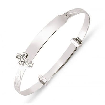 9ct White Gold Childrens Expandable Bangle with CZ Cross