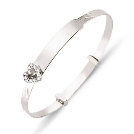 9ct White Gold Childrens Expandable Bangle with CZ Heart