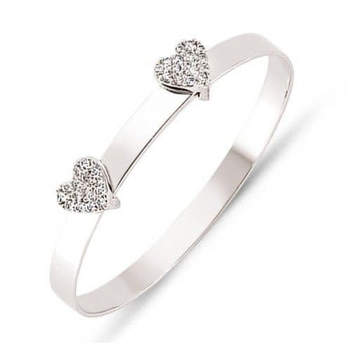 9ct White Gold Childrens Expandable Bangle with CZ Hearts