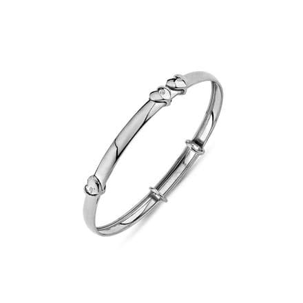 9ct White Gold Childrens Expandable Bangle with Floating CZ Heart