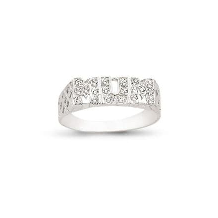9ct White Gold CZ Basket Sides Mum Ring