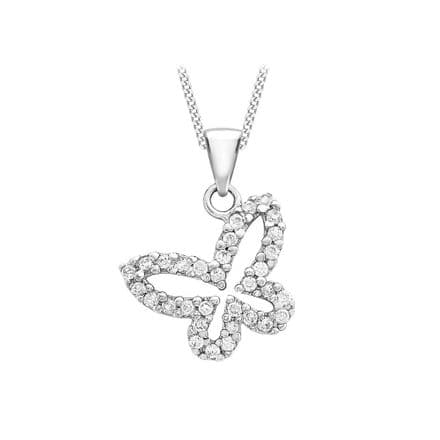 9ct White Gold CZ Butterfly Pendant