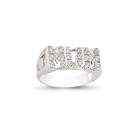 9ct White Gold CZ ID Sides Mum Ring