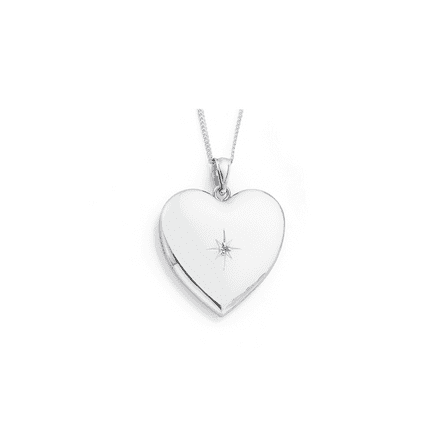 9ct White Gold Diamond Centre Heart Locket