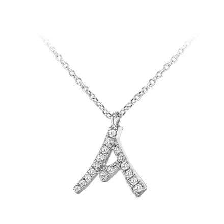 9ct White Gold Diamond Initial Adjustable Necklace