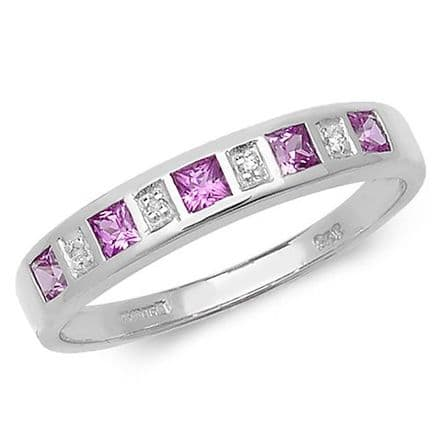 9ct White Gold Diamond & Pink Sapphire Eternity Ring