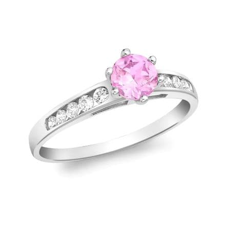9ct White Gold Pink CZ & White CZ Shoulder Set Ring