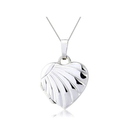9ct White Gold Rayed Embossed Heart Locket