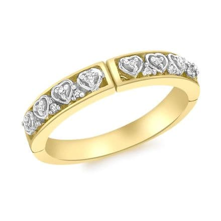 9ct Yellow Gold 0.06ct Diamond Hidden 'I Love You' Ring