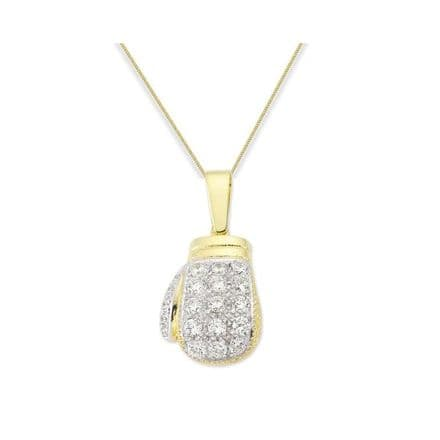 9ct Yellow Gold 1.25oz Cubic Zirconia Boxing Glove Pendant Necklace