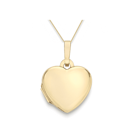 9ct Yellow Gold 12mm Plain Heart Locket