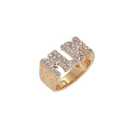 9ct Yellow Gold 13g Patterned Sides CZ Mum Ring
