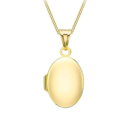 9ct Yellow Gold 15mm Plain Oval Locket