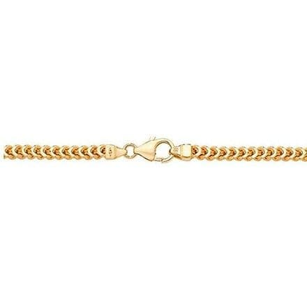 9ct Yellow Gold 18 Inch 3mm Square Franco Link Curb Chain