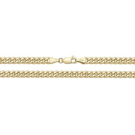 9ct Yellow Gold 18 Inch 4mm Semi-Solid Cuban Curb Chain