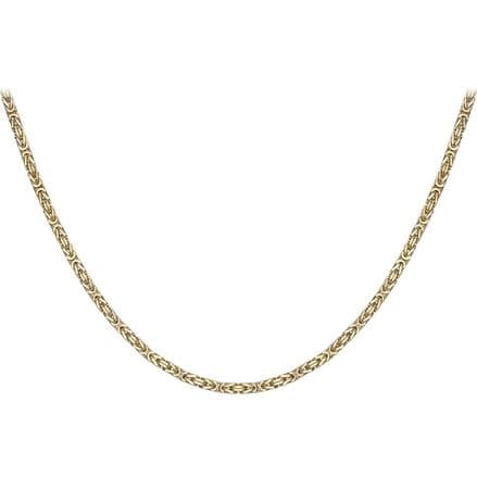 9ct Yellow Gold 18 Inch 4mm Square Byzantine Chain