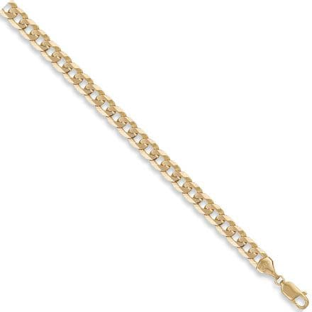 9ct Yellow Gold 18 Inch 8mm Flat Curb Chain