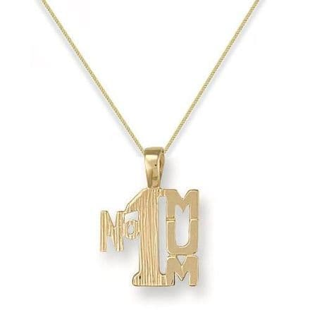 9ct Yellow Gold 1g Number One Mum Pendant