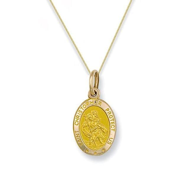 9ct Yellow Gold 20mm St Christopher Oval Pendant