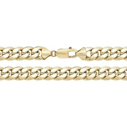 9ct Yellow Gold 22 Inch 10mm Semi-Solid Cuban Curb Chain