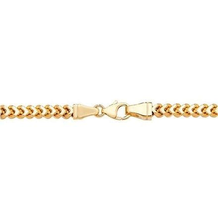 9ct Yellow Gold 24 Inch 5mm Square Franco Link Curb Chain