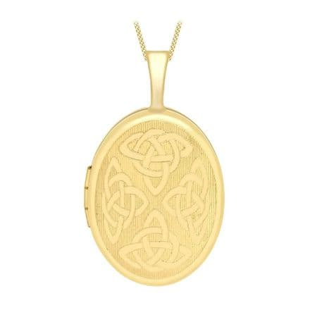 9ct Yellow Gold 25mm Etched Celtic Oval Locket