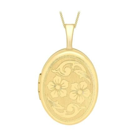 9ct Yellow Gold 25mm Etched Flower Detail Oval Locket