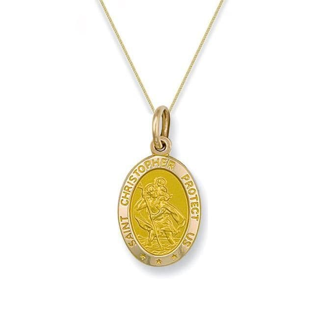 9ct Yellow Gold 25mm St Christopher Oval Pendant