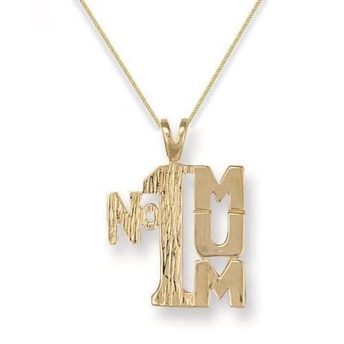 9ct Yellow Gold 2g Number One Mum Pendant