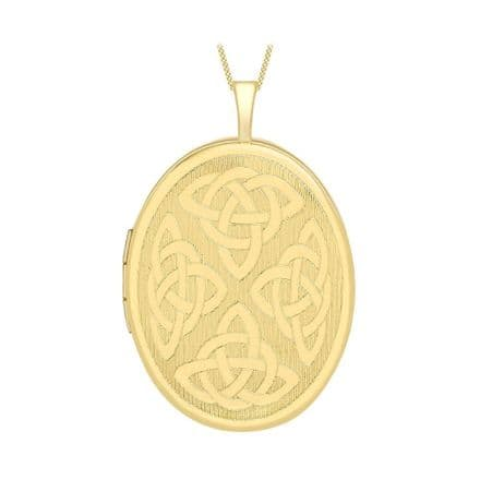 9ct Yellow Gold 32mm Etched Celtic Oval Locket