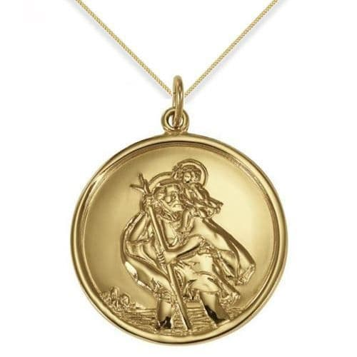 9ct Yellow Gold 33mm Round St Christopher Pendant Necklace
