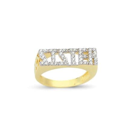 9ct Yellow Gold 3g CZ Cut Out Sides Sister Ring