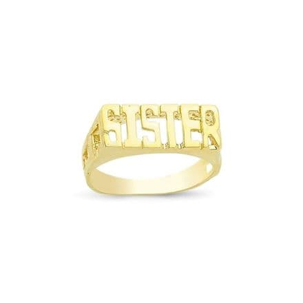 9ct Yellow Gold 3g ID Sides Sister Ring