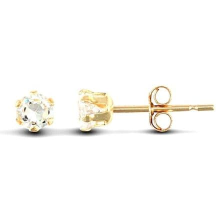 9ct Yellow Gold 3mm Claw Set Cubic Zirconia Stud Earrings