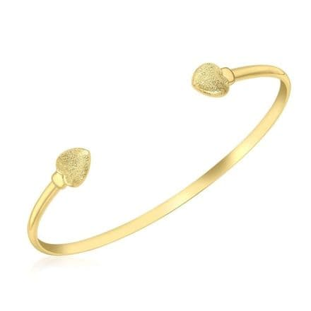 9ct Yellow Gold 3mm Textured Hearts Torque Bangle