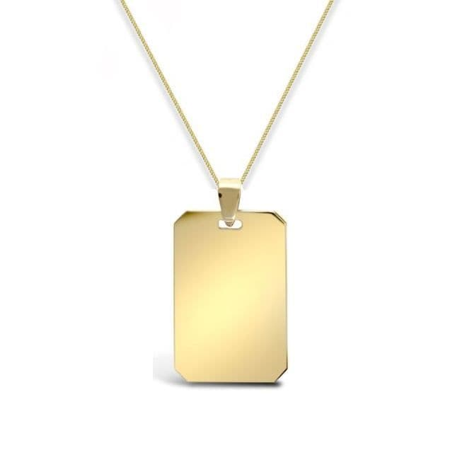 9ct Yellow Gold 4g Squared Dog Tag