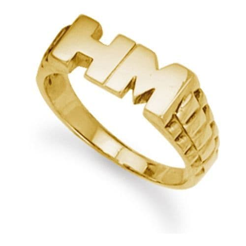 9ct Yellow Gold 5.0g Brick Link Initial Ring