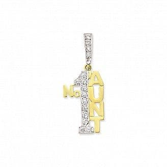 9ct Yellow Gold 5g Large Cubic Zirconia Number One Aunt Pendant