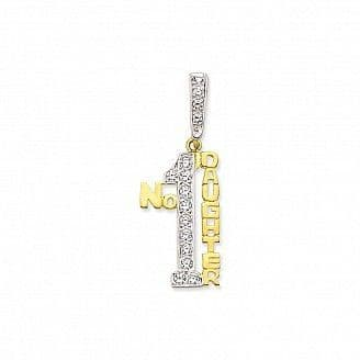 9ct Yellow Gold 5g Large Cubic Zirconia Number One Daughter Pendant