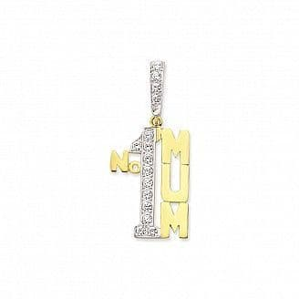 9ct Yellow Gold 5g Large Cubic Zirconia Number One Mum Pendant