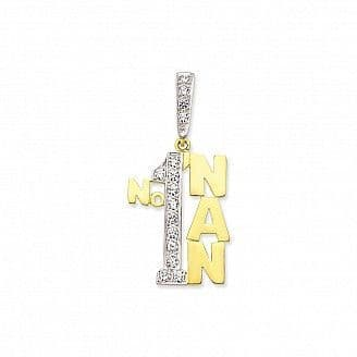 9ct Yellow Gold 5g Large Cubic Zirconia Number One Nan Pendant
