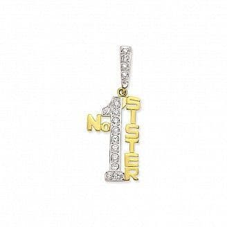 9ct Yellow Gold 5g Large Cubic Zirconia Number One Sister Pendant