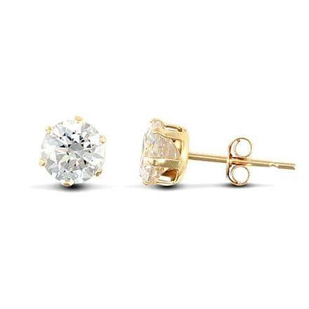 9ct Yellow Gold 5mm Claw Set Cubic Zirconia Stud Earrings
