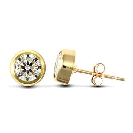 9ct Yellow Gold 5mm Rubover Set Cubic Zirconia Stud Earrings