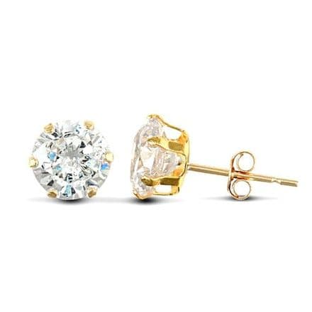 9ct Yellow Gold 6mm Claw Set Cubic Zirconia Stud Earrings
