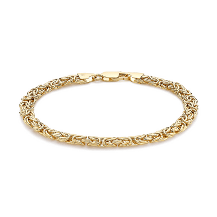 9ct Yellow Gold 7.5 Inch 6mm Domed Byzantine Bracelet